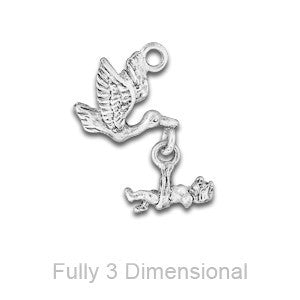Linked Stork with Baby Charms - SamandNan
