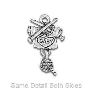 Baby with Knitting Linked .925 Serling Silver Plated Charms - SamandNan