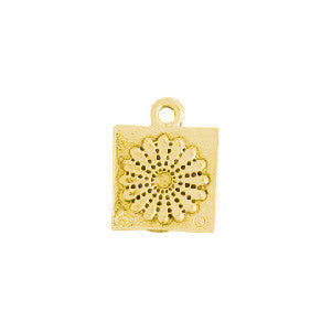 Dresden Flower Quilt Square Gold Plated Charms - SamandNan