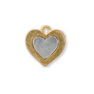 Gold and Silver Heart Two Tone Sterling Finished - SamandNan