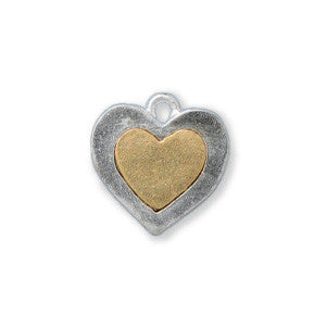 Silver and Gold Heart Two Tone Sterling Finished - SamandNan