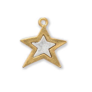 Gold and Silver Star Two Tone Sterling Finished - SamandNan