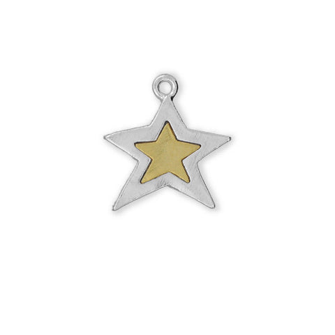 Silver and Gold Star Two Tone Sterling Finished - SamandNan