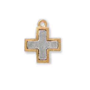 Gold and Silver Cross Two Tone Sterling Finished - SamandNan