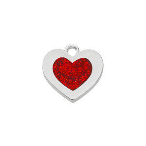 Red Epoxy Sterling Plated Heart Charm - SamandNan