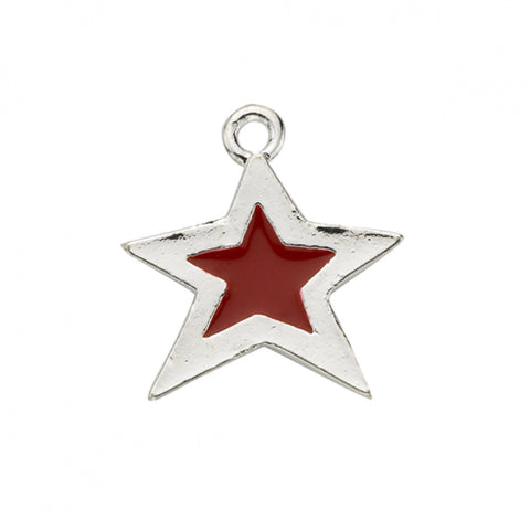 Red Epoxy Sterling Plated Star Charm - SamandNan