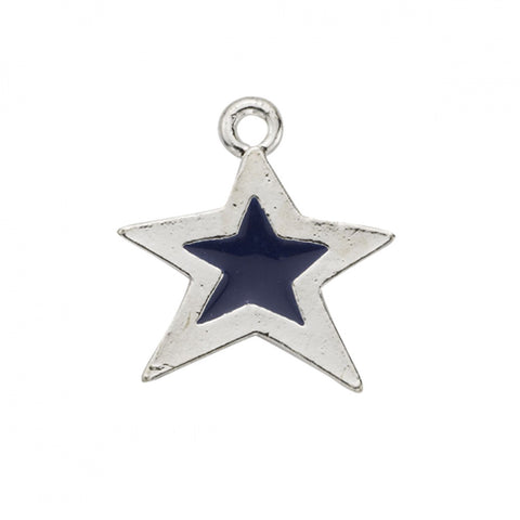 Blue Epoxy Sterling Plated Star Charm - SamandNan