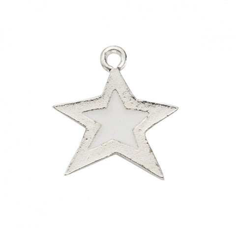 White Epoxy Sterling Plated Star Charm - SamandNan