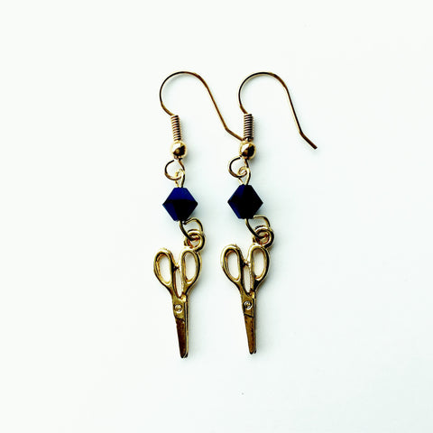 ____ Craft Scissors Gold Earrings with Blue Swarovski Crystals