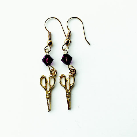____ Craft Scissors Gold Earrings with Purple Swarovski Crystals