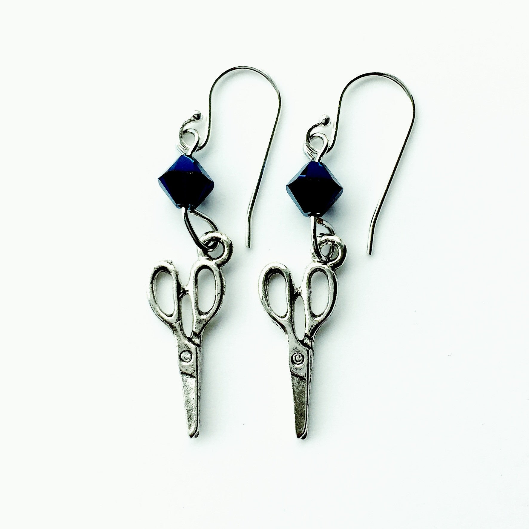 ____ Craft Scissors Silver Earrings with Blue Swarovski Crystals