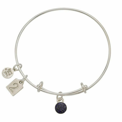 February Purple Birthstone Charms Bangle Bracelet - SamandNan