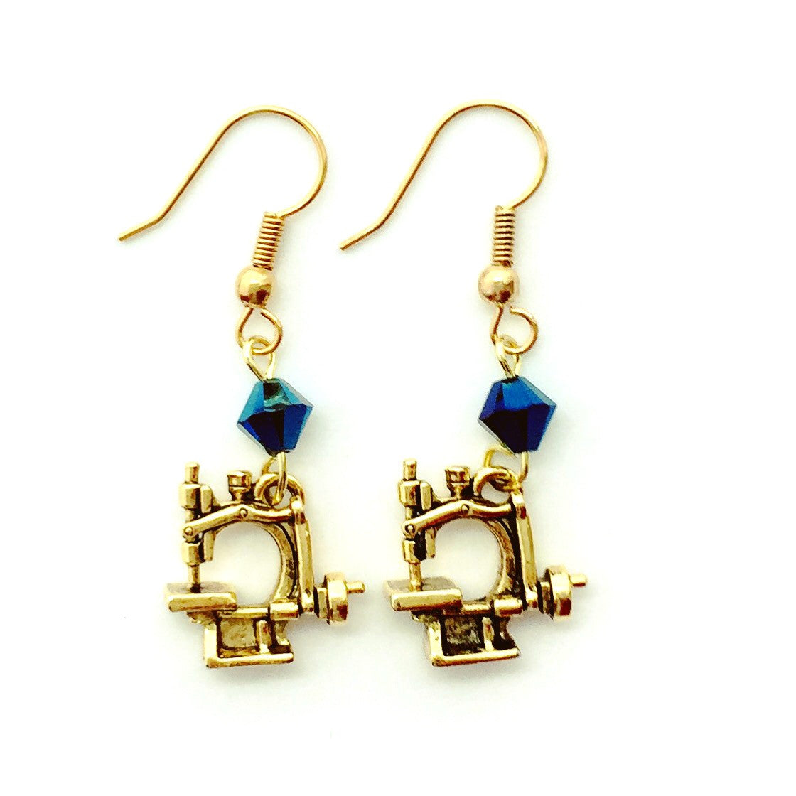 Hand Crank Sewing Machine Gold Earrings with Blue Swarovski Crystals.