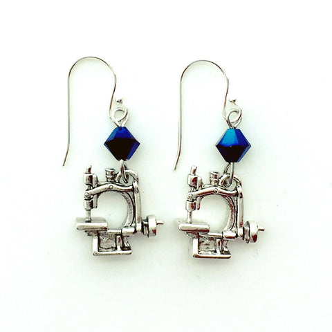 Hand Crank Sewing Machine Silver Earrings with Blue Swarovski Crystals.