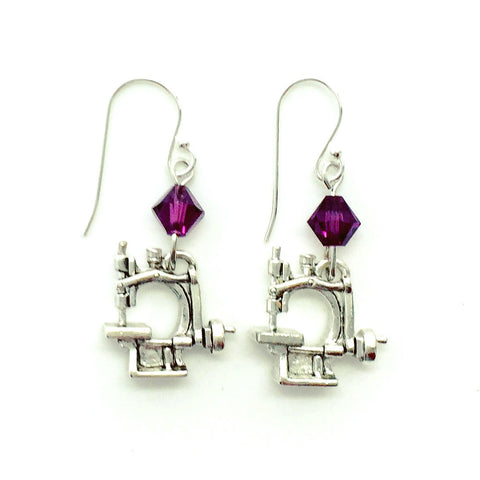 Hand Crank Sewing Machine Silver Earrings with Purple Swarovski Crystals.