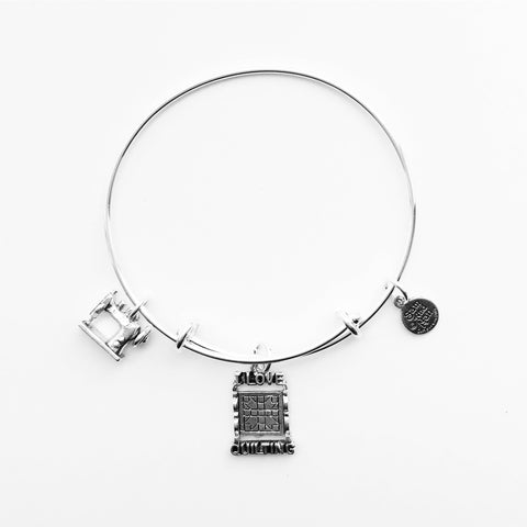 I Love Quilting and Sewing Machine Silver Bangle Bracelet