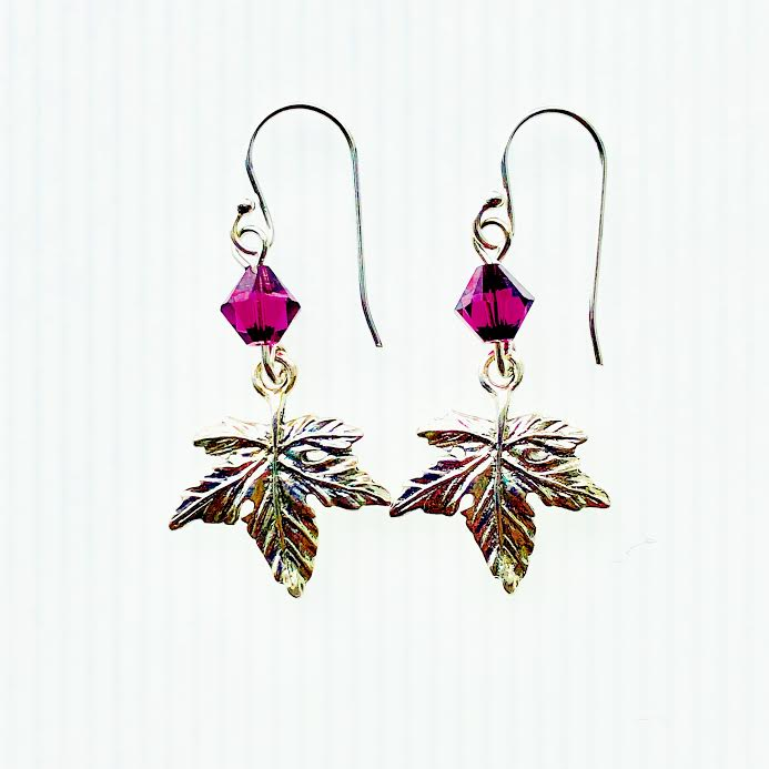 Maple Leaf Vermont Earrings with Purple Swarovski Crystals
