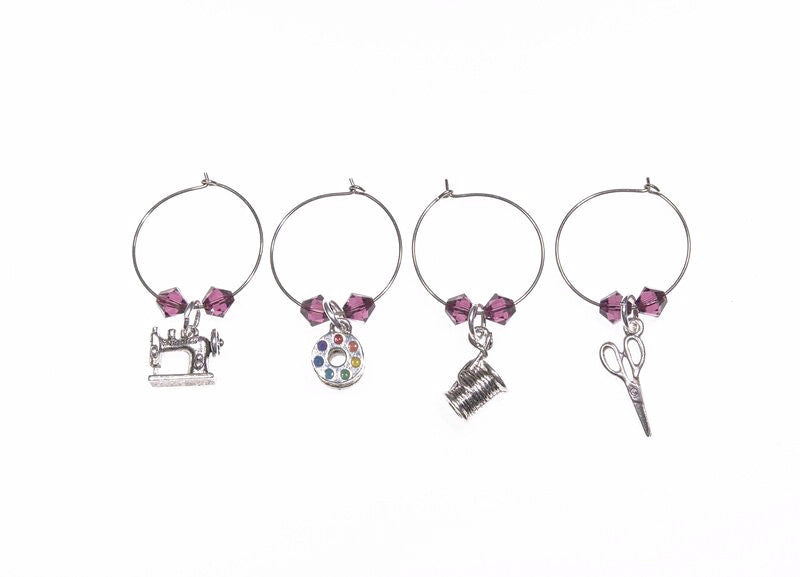 Quilt Wine Charms and Scissor Fobs with Purple Swarovski Crystals