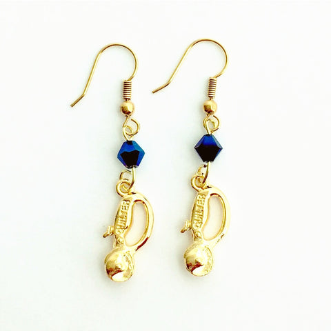 ____ Quilt Cutter Gold Earrings with Blue Swarovski Crystals.