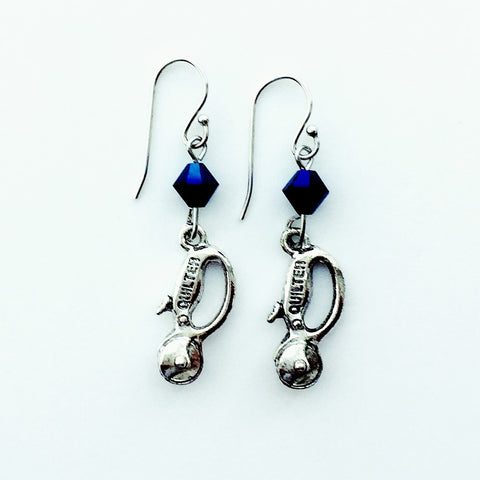 ____ Quilt Cutter Silver Earrings with Blue Swarovski Crystals.