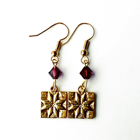 ____ Quilt Patch Gold Earrings with Purple Swarovski Crystals