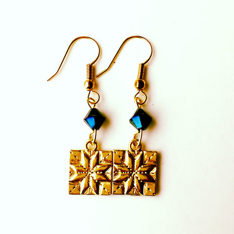 ____ Quilt Patch Gold Earrings with Blue Swarovski Crystals