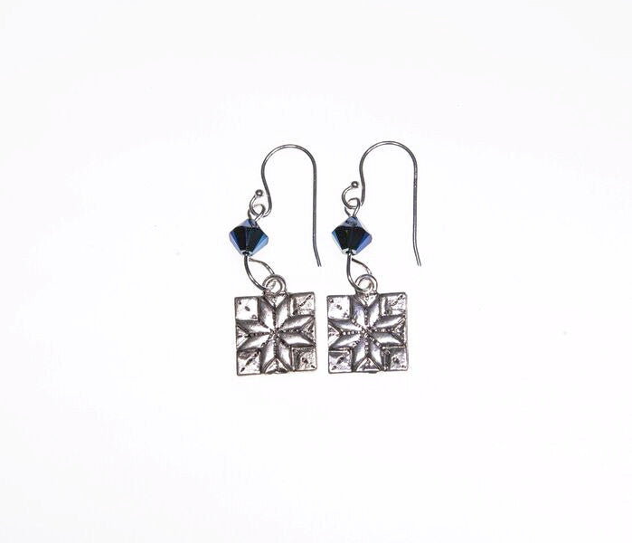 Quilt Patch Silver Earrings with Blue Swarovski Crystals