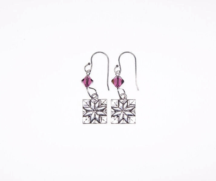 Quilt Patch Silver Earrings with Purple Swarovski Crystals