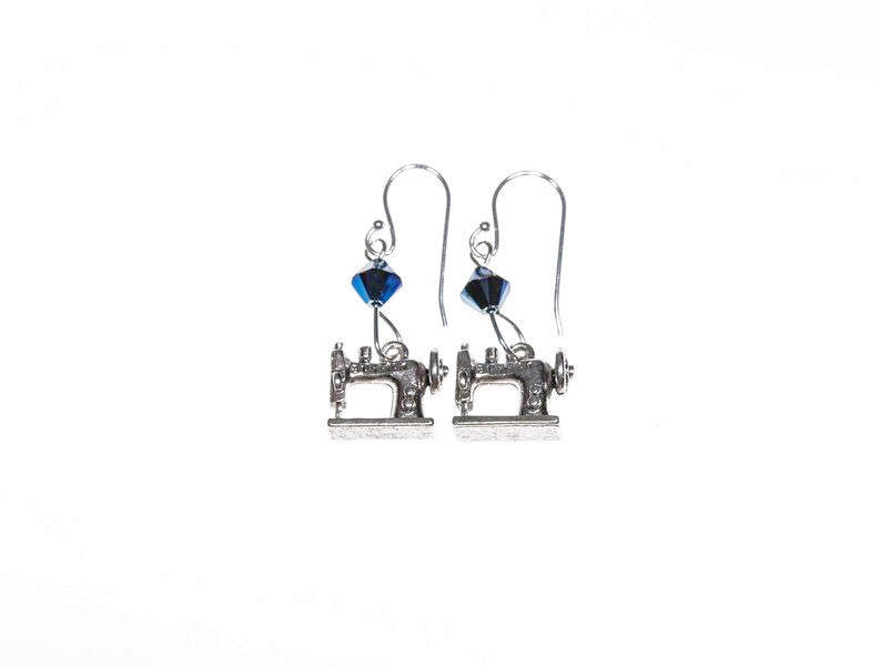 Sewing Machine Earrings with Blue Swarovski Crystals