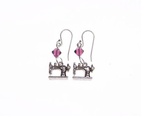 Sewing Machine Earrings with Purple Swarovski Crystals