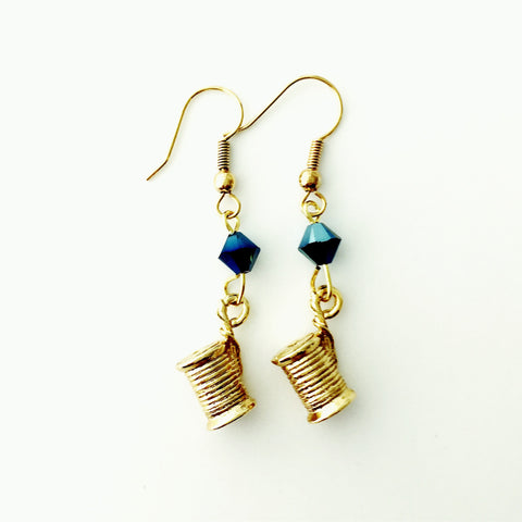 ____ Spool of Thread Gold Earrings with Blue Swarovski Crystals.