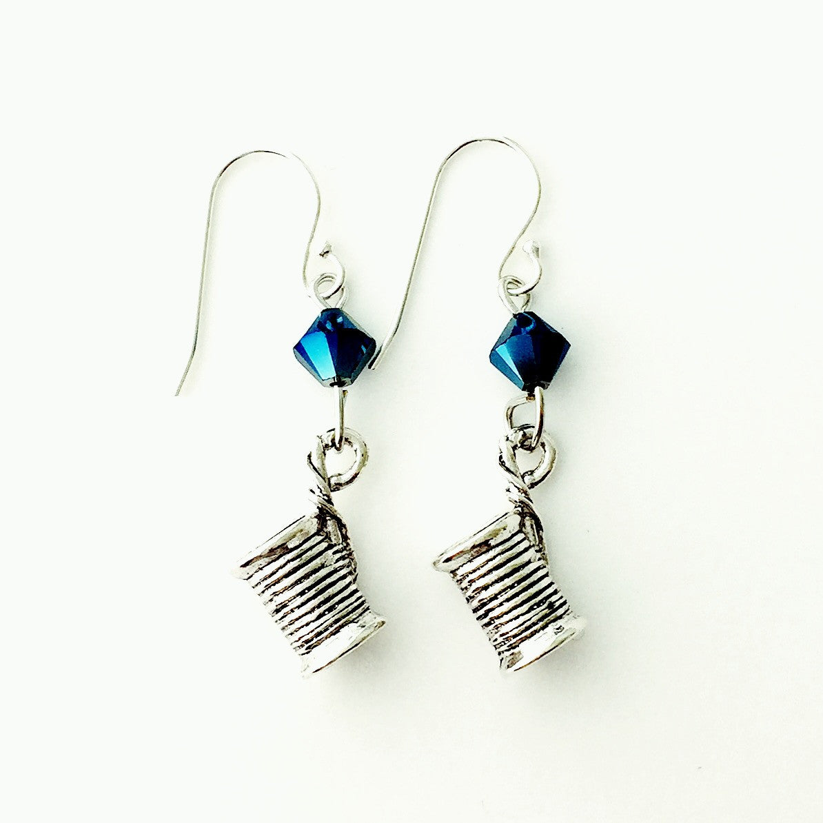 ____ Spool of Thread Silver Earrings with Blue Swarovski Crystals.