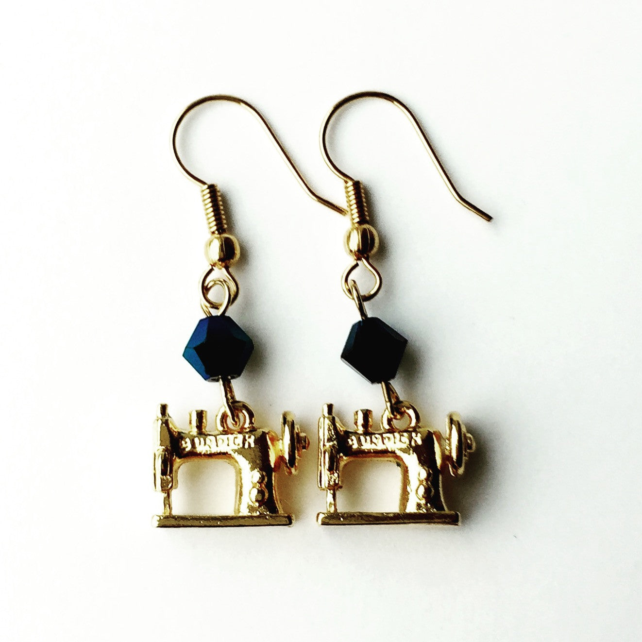 Sewing Machine Gold Earrings with Blue Swarovski Crystals
