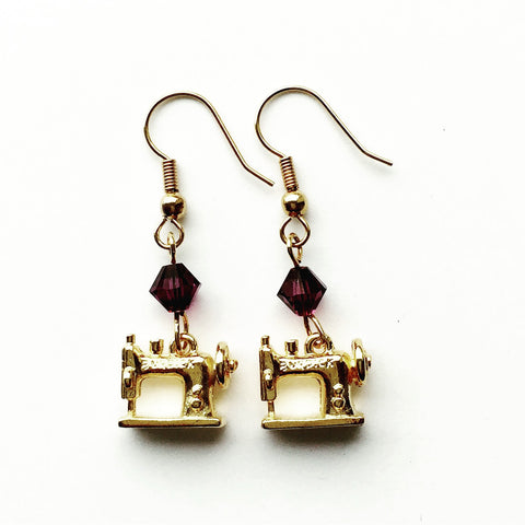 Sewing Machine Gold Earrings with Purple Swarovski Crystals
