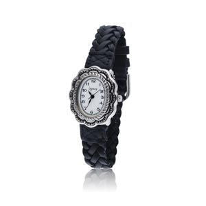Silver Scalloped Southwestern Designed Watch with a Black Braided Leather Band and a Silver Buckle. - SamandNan