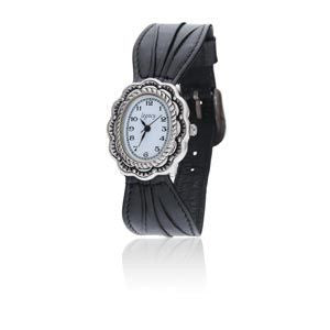Silver Scalloped Southwestern Designed Watch with a Black Bow Leather Band and a Silver Buckle. - SamandNan