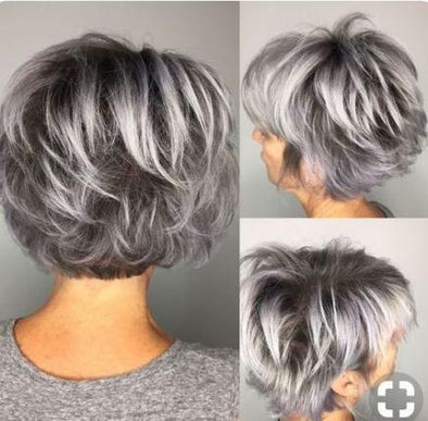 2019 Grey Short Hair Wig Ombre Bob With Lace Front 4x4Brazilian Remy Hair Wigs Hairline Glueless