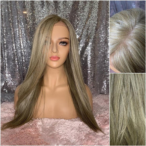 ashy blond wig long wig dirty blonde natural wig large lace front wig chemo wig cosplay wig