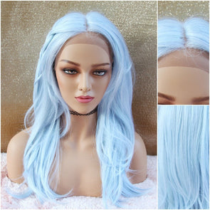 Blue Wig, Lace Front Wig, Long Wavy Wig, Cosplay Wig, Heat Safe, Natural, Ice Blue