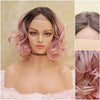 Pink Silk Swiss Lace Front Wig, Short Light Pink Heat Safe Natural Parting, for Everyday and Cosplay