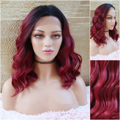 Burgundy Lace Front Wig, Blended Human Hair, Extra Large Lace Front for Natural Parting of Your Choice