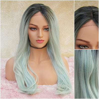 Pastel Green Swiss Lace Front Wig, Light Green Wavy/Straight Heat Safe Wig, Natural and Cosplay, Dark roots