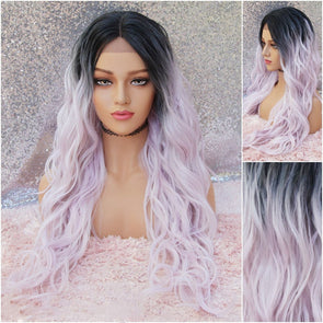 Lilac Lace Front Wig, Middle Part with Dark Roots, Heat Resistant Wig, Natural Wig, Cosplay Wig