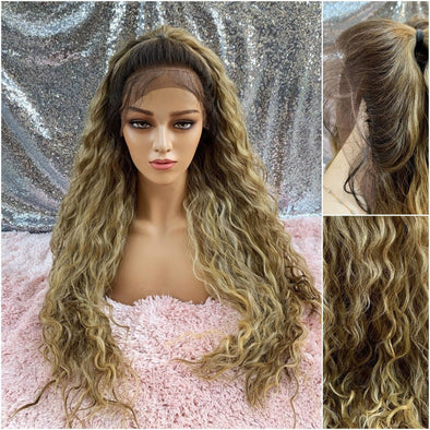 Top Knot Lace Front Wig, Dirty Blonde Wavy Wig, Long Curly Wig, Heat Safe Wig, Cosplay, Natural Wig, Baby Hairs, Large Lace Front