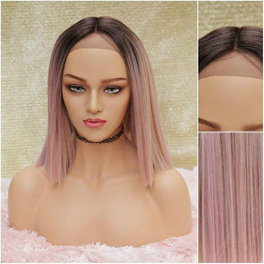 Cotton Candy Pink Straight Silk Swiss Lace Front Wig, Short and Straight Pink Heat Safe Wig, Natural Middle Part