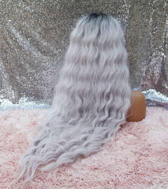 Long Loose Wave Lace front Wig, Dusty Silver/Lilac Wig, Heat Resistant Wig, Cosplay