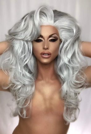 Silver Grey Wig With Lace Front