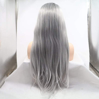 Grey Curly Wig With Lace Front