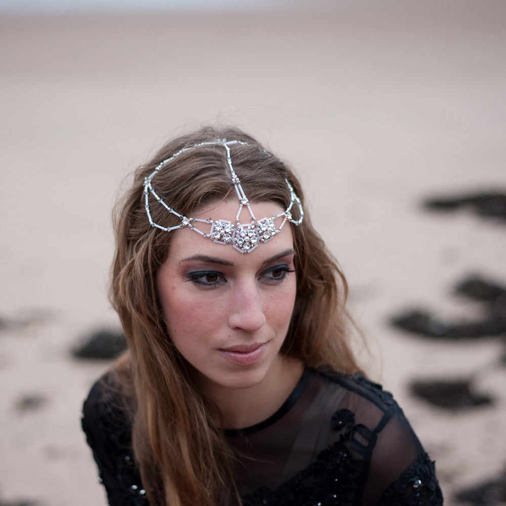 Swarovski crystal pearl wedding hair accessory tiara headdress designer Edinburgh bridal