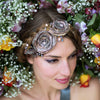 Swarovski crystal silver wedding hair accessory sash silk designer Glasgow bridal